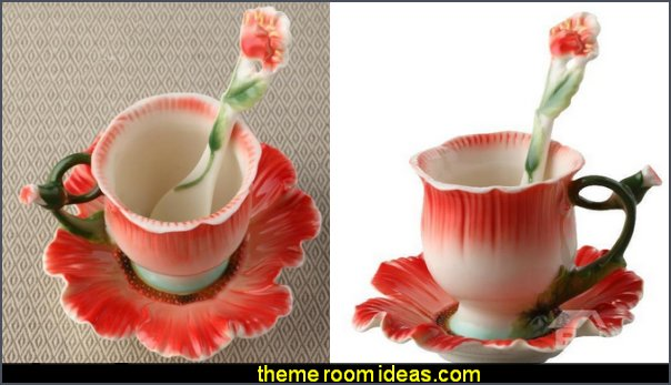 Poppy Flower Design Red Color Exquisite Enamel Porcelain Coffee Cup Sets