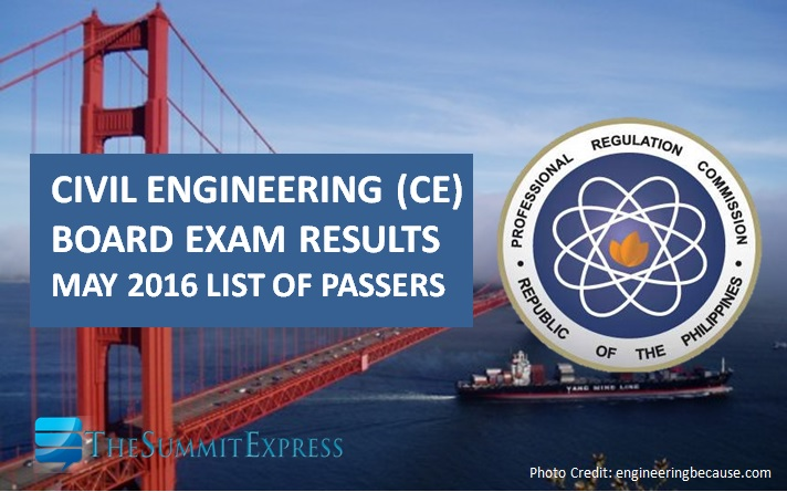 May 2016 Civil Engineer (CE) board exam results