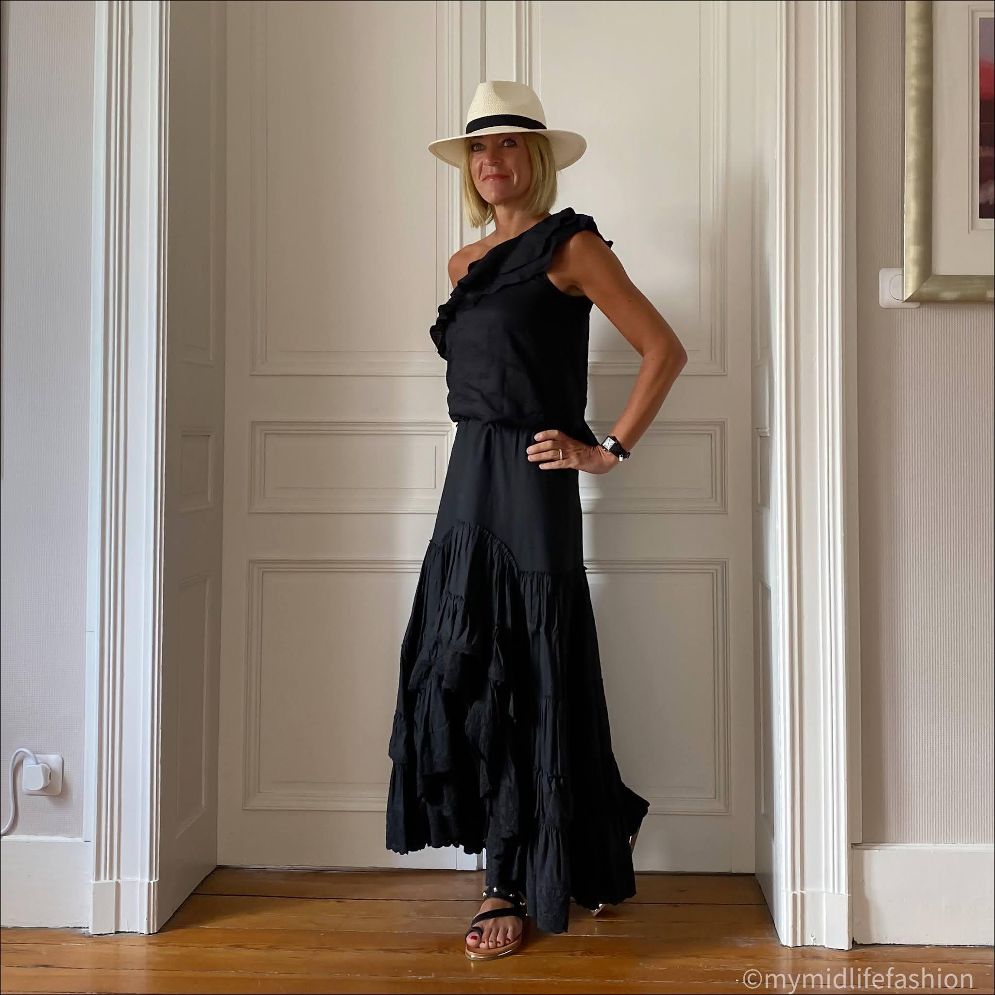 my midlife fashion, Zara Panama hat, Isabel marant etoile off the shoulder top, Isabel marant etoile tiered maxi skirt, carvela karafe sandals