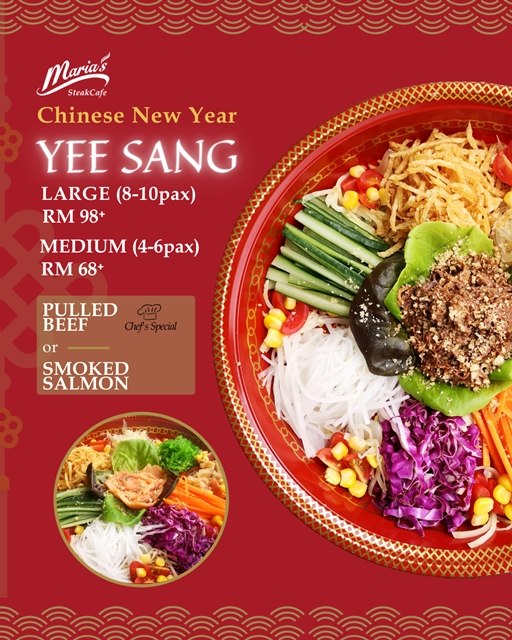 Maria's SteakCafe, CNY & Valentine's Home Delivery Menu, Home Delivery Menu, PULLED BEEF YEE SANG, Australian Grassfed Rib Eye, N.Z. LAMB CUTLET, Food