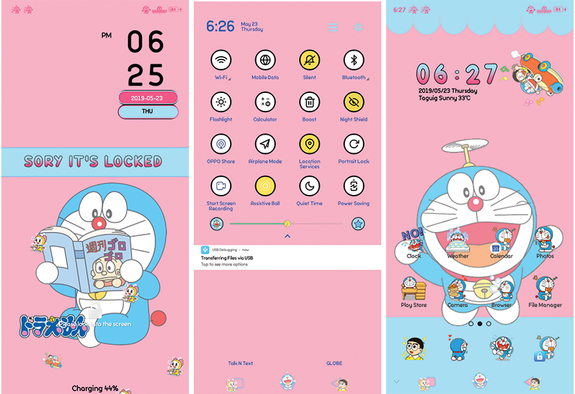 Oppo Theme: Doraemon Pink Blue Theme