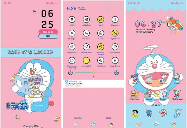 Oppo Theme: Doraemon Pink Blue Theme