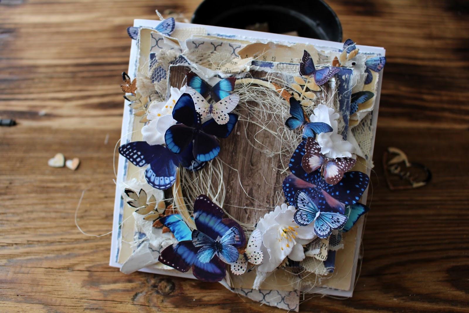 Внимание, открытка с бабочками мк