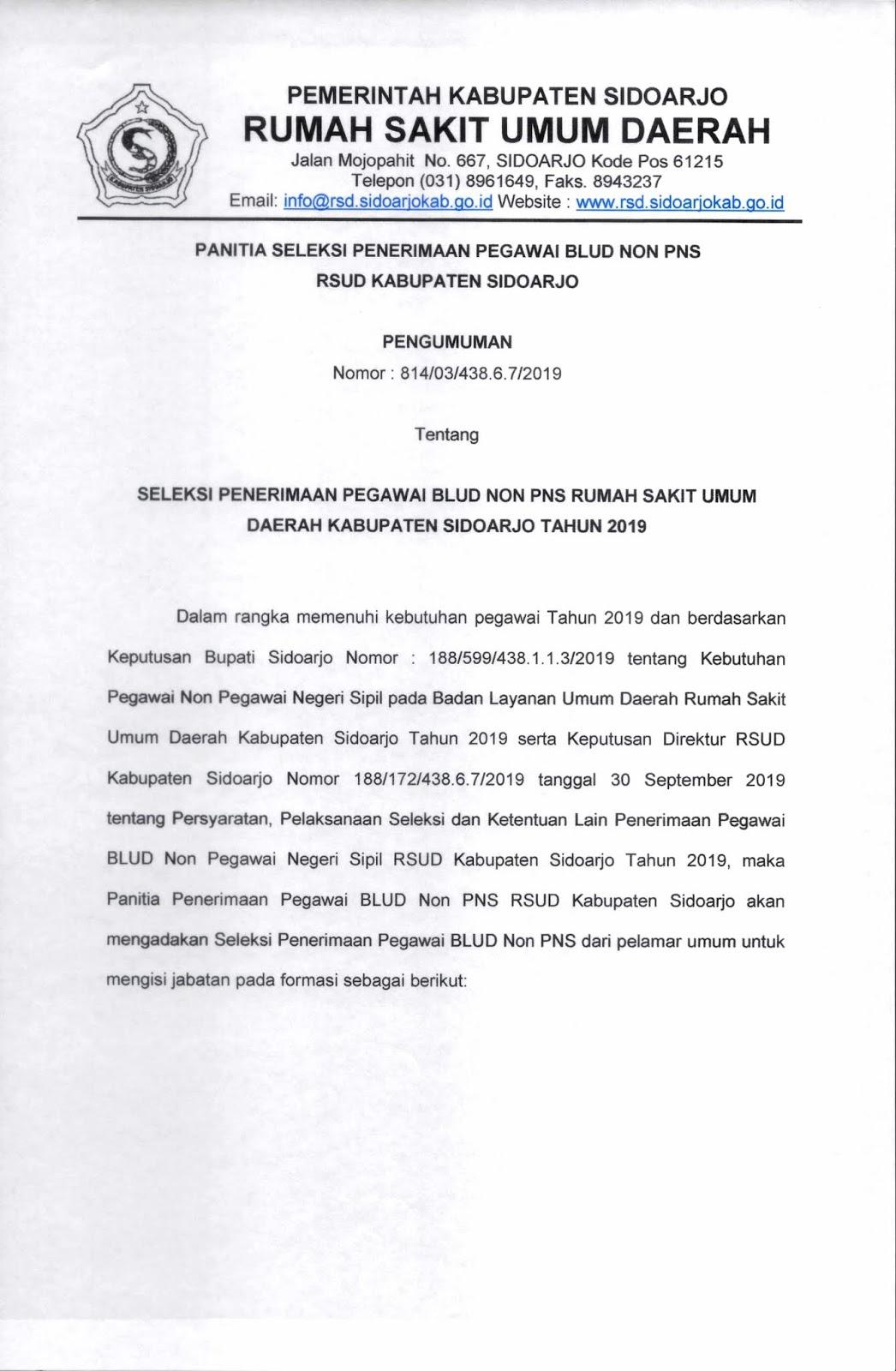 Penerimaan Tenaga Non PNS BLUD Rumah Sakit Umum Daerah Kabupaten Sidoarjo