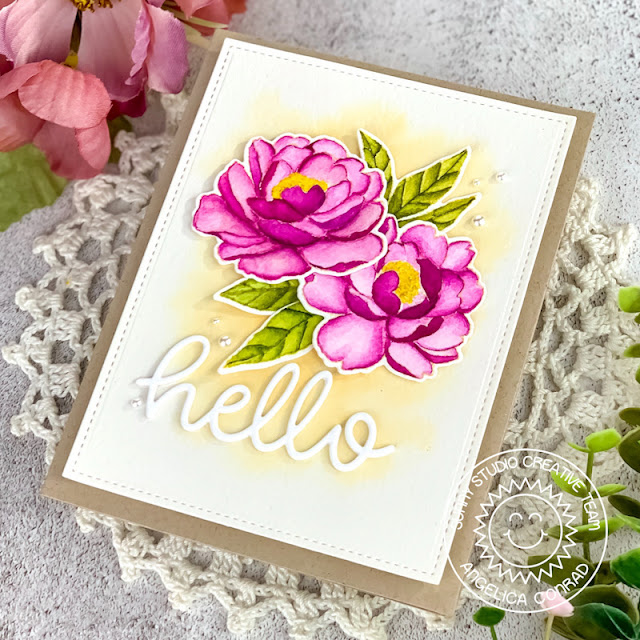 Sunny Studio Stamps: Pink Peonies Hello Word Die Hello Card by Angelica Conrad