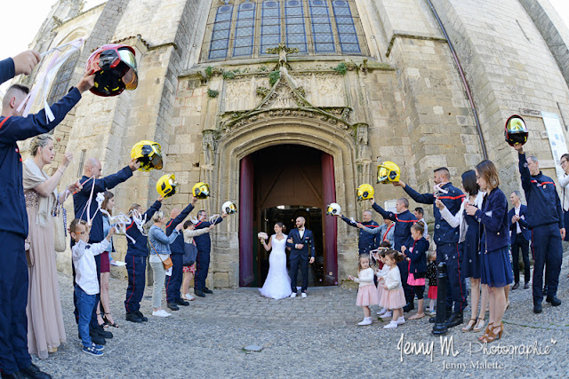 haie d'honneur pompiers - mariage