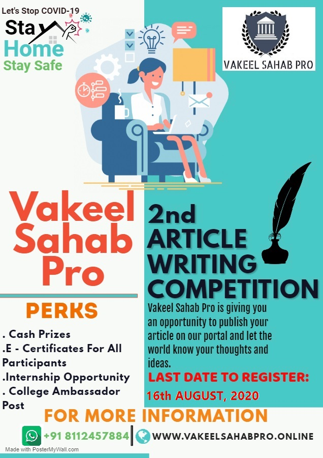 2nd National Article Writing Competition @ VAKEEL SAHAB PRO