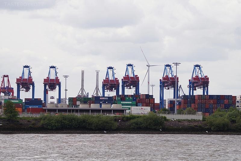 Hamburger Hafen Hafenrundfahrt Krane Container Sommer