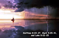 Jesus Calms the Storm it is accounted in -  Matthew 8:23-27, Mark 4:35-41, and Luke 8:22-25.