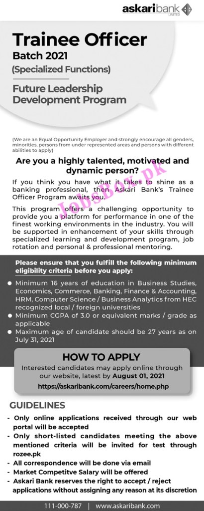 Askari Bank Trainee Officer Jobs 2021 – Apply Online via askaribank.com