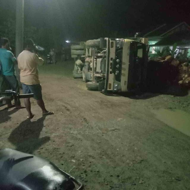 Truk Muatan Kelapa Sawet Milik Masyrakat Terbalik Di Jalan Perlak - Lokop Yang Rusak Parah
