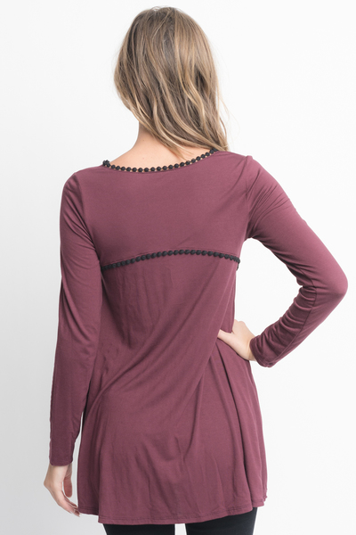 Shop for Red Brown pom pom trim long sleeve jersey tunic top on caralase.com
