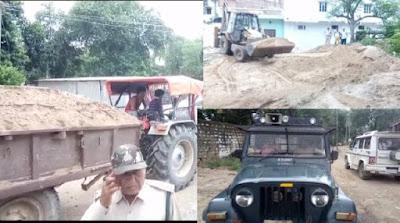 ठेकेदार के द्वारा अस्पताल की नई बिल्डिंग में लगा रहे चम्बल के रेत को वन विभाग ने किया जप्त