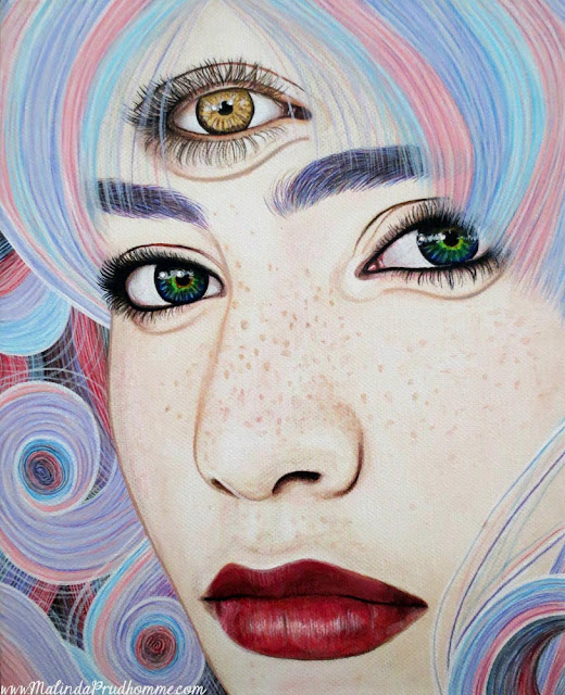 art, artist, artwork, portrait, portrait painting, portrait artist, toronto portrait artist, toronto art, see with your soul, soul, spirit, eyes, golden eye, multicoloured eyes, cotton candy hair, beauty, beauty art, malinda prudhomme, lips, portraiture, realism, mixed media, mixed media artist, face