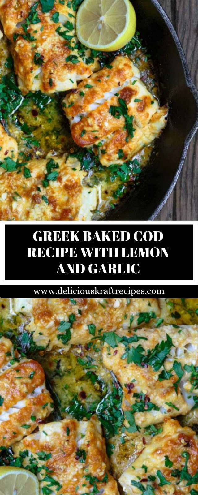 GREEK BAKED COD RECIPE WITH LEMON AND GARLIC