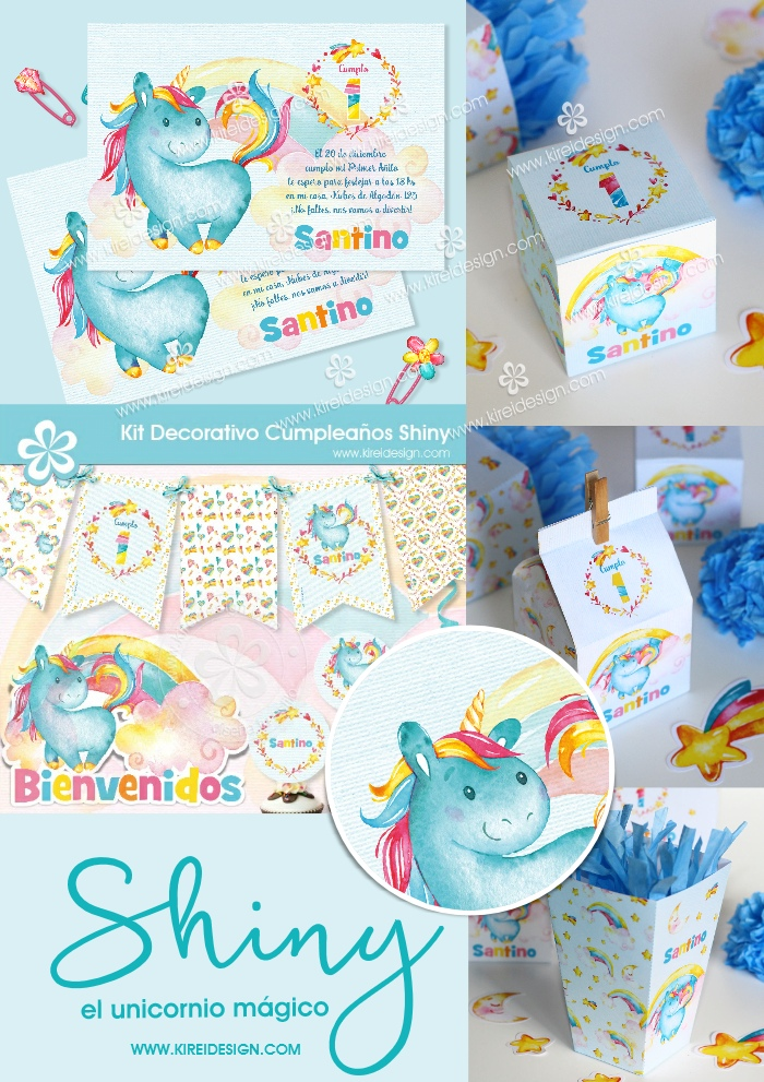 kit imprimible unicornio kireidesign