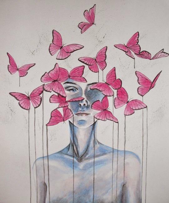 mariposas y rostro femenino  en acuarela