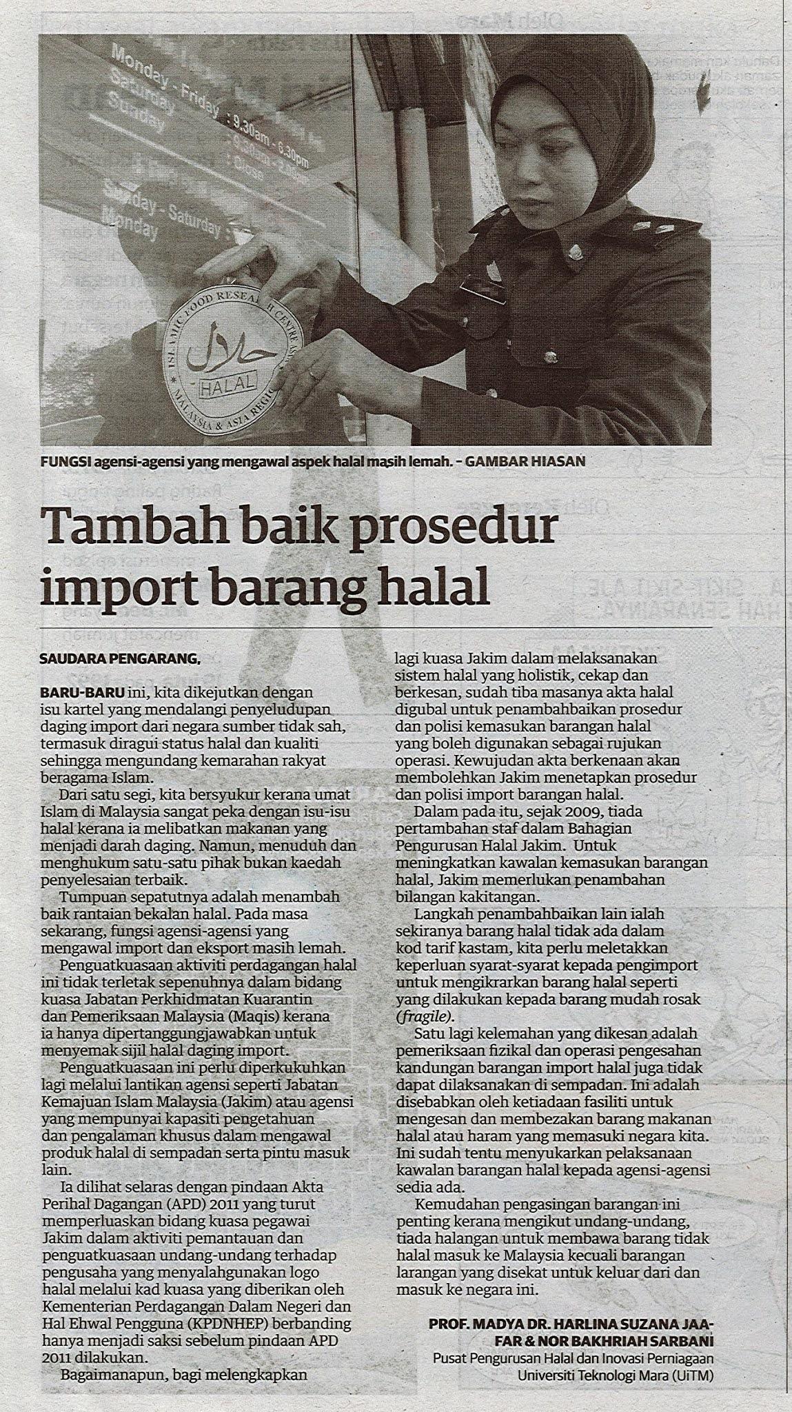 Tambah baik prosedur import barang halal - Keratan akhbar Utusan Malaysia 14 Januari 2021
