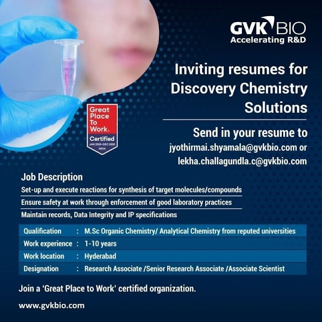 GVK BIO- Openings for Discovery Chemistry Solutions Send your Resume