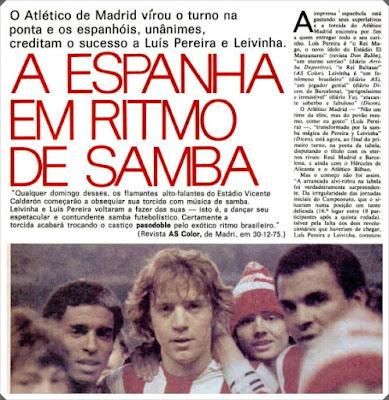 Placar Leivinha Luis Pereira Samba Atlético de Madrid
