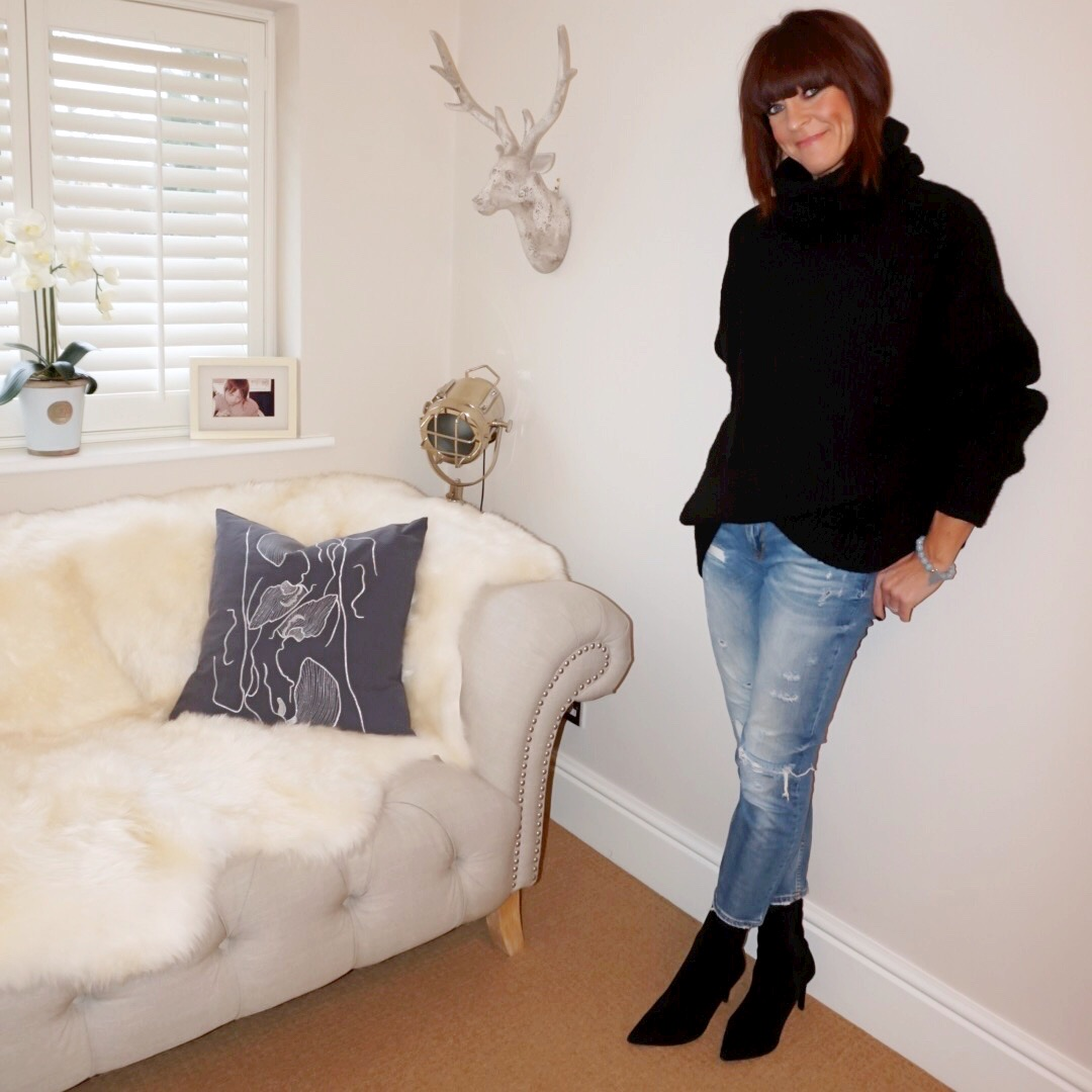 my midlife fashion, zara oversized roll neck sweater, zara distressed cropped straight leg jeans, marks and spencer stiletto heel ankle boots