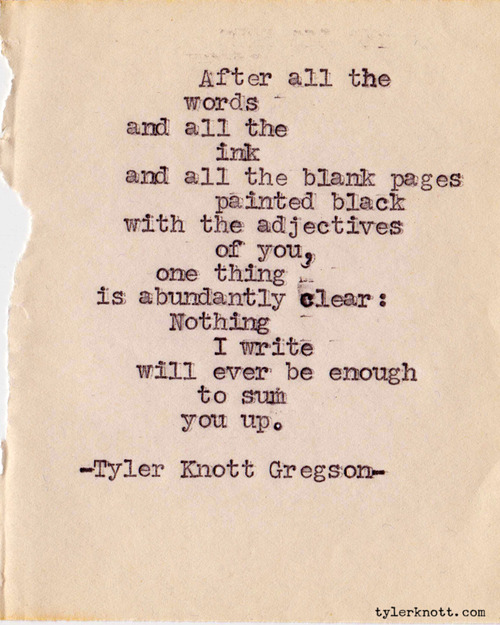 Enter Kelly: Writing love: Tyler Knott Gregson