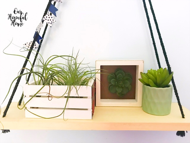 hanging shelf mini crate green planter white frame faux succulent