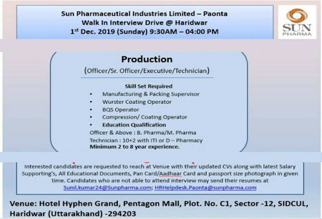 Sun Pharmaceuticals walk-in interview for Production department on 1st December, 2019