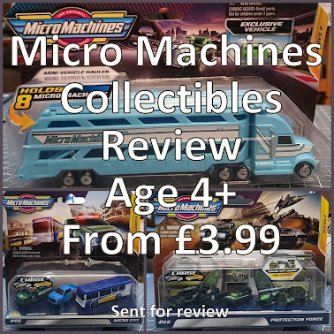 Collage of 3 different Micro Machines play sets with cars and text title