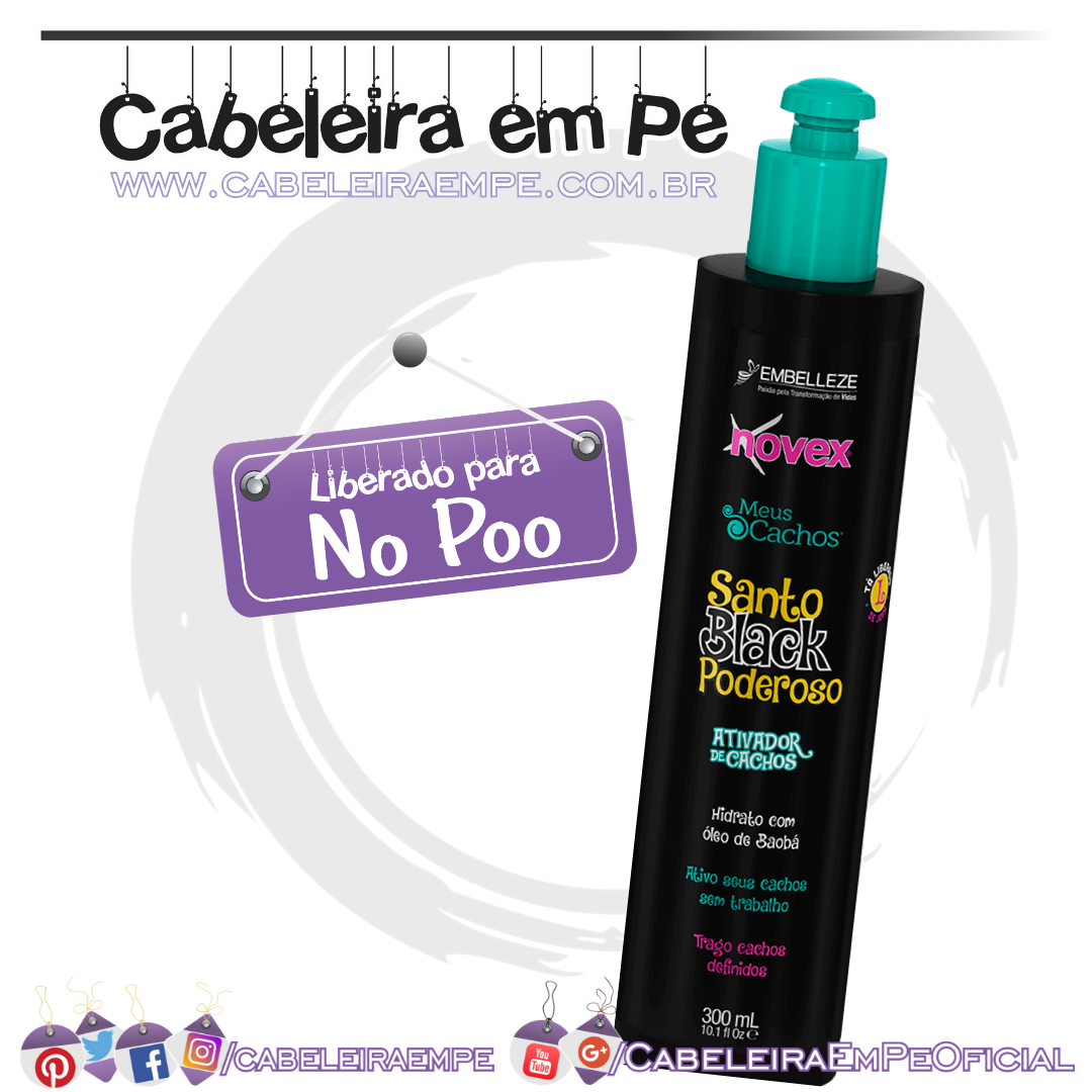 Ativador de Cachos Santo Black Poderoso - Novex (No Poo)