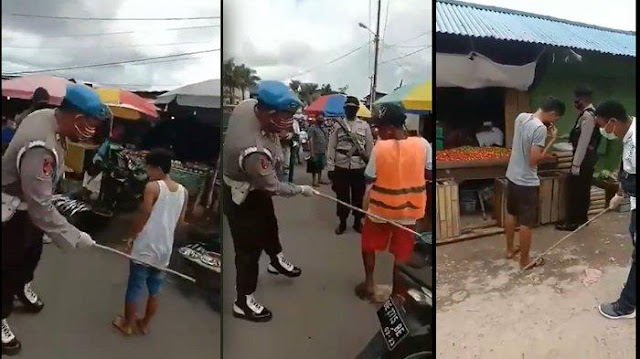 Viral Video Polisi Indonesia Bak Polisi India, Pukuli Bokong Warga yang Tak Pakai Masker