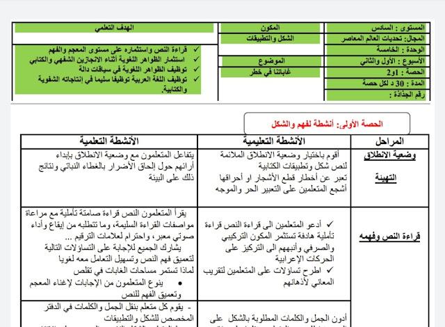 جذاذات الوحدة الخامسة وفق مرجع في رحاب اللغة العربية المستوى السادس وفق المنهاج المنقح 2020