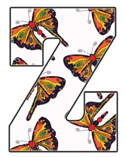 Abecedario con Fondo de Mariposas. Alphabet with Butterfly Background.