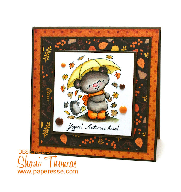 Happy Autumn card featuring Di's Digi Stamps Windy Play, by Paperesse.