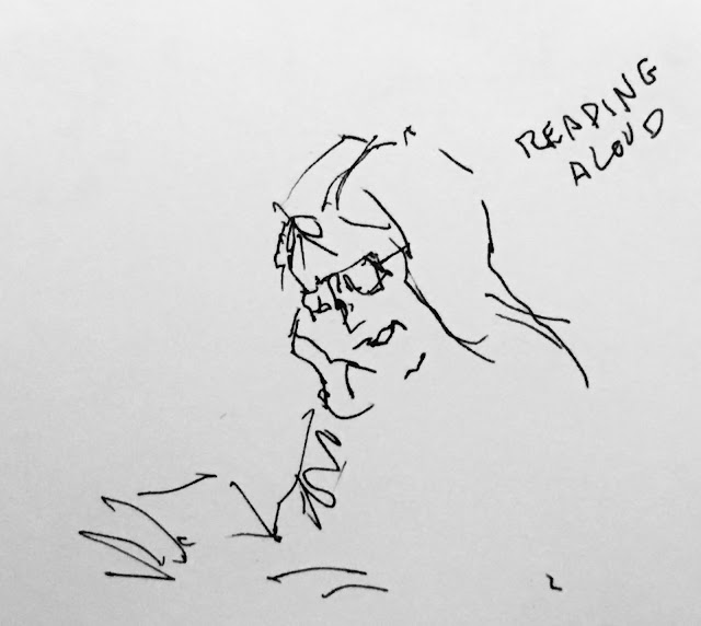 "Pen and ink drawing of woman reading aloud (with the words ""reading aloud""  visible on right)."