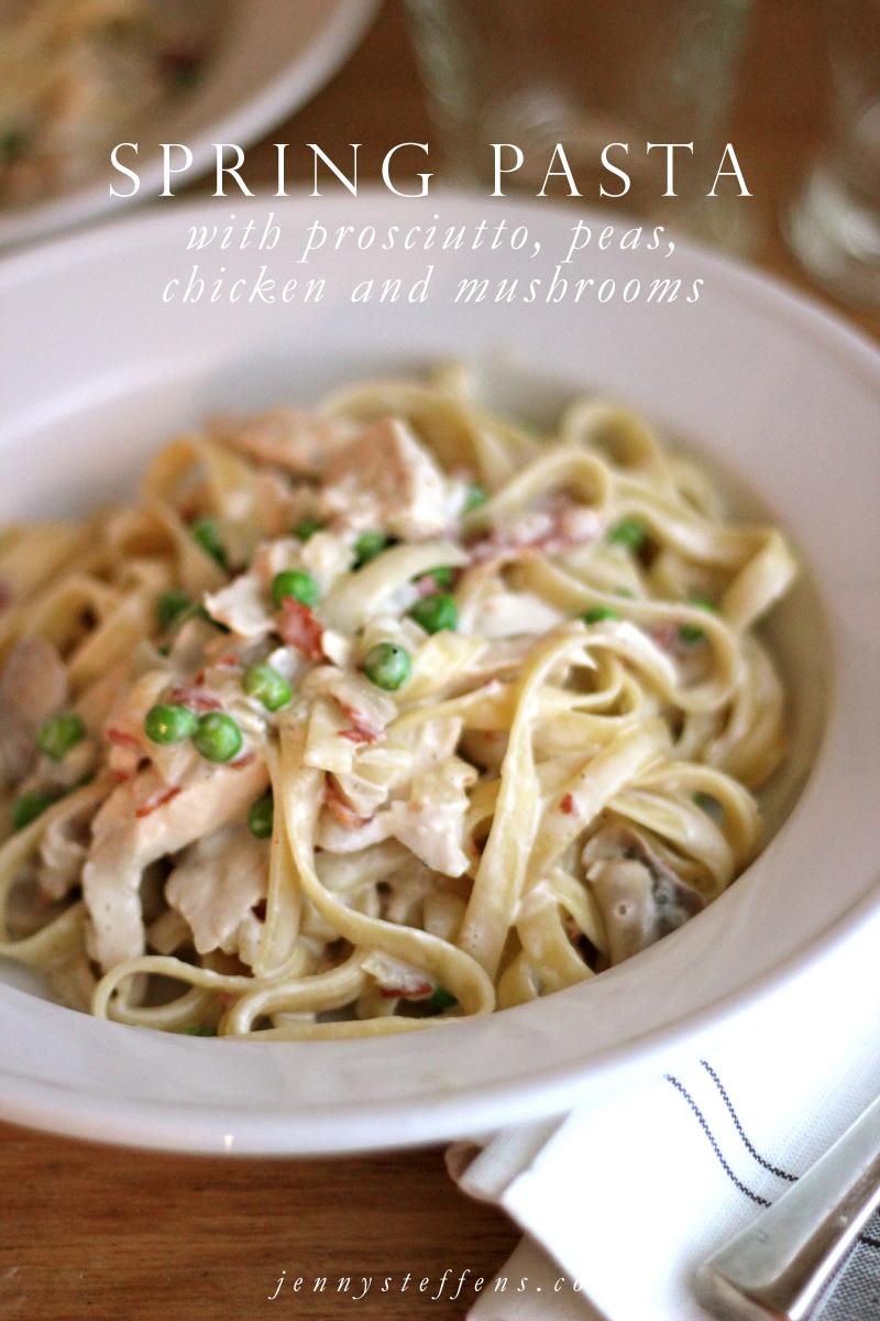 Spring Pasta with Prosciutto, Peas, Chicken & Mushrooms | Emma in ...