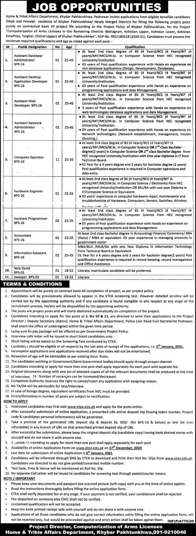 Home and Tribal Affairs Department Govt of KPK Jobs December 2020