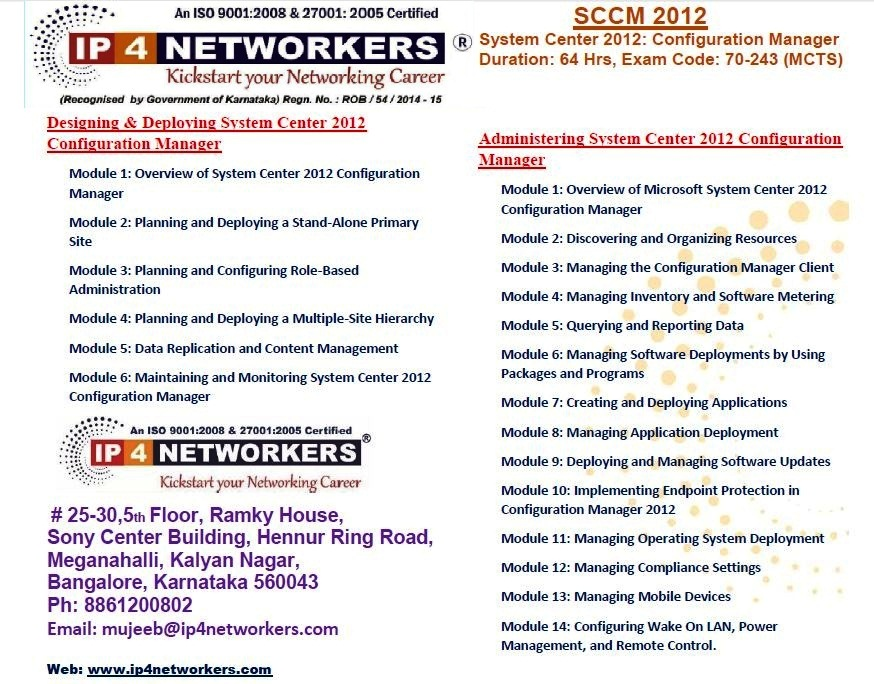 Sccm 2012 Training In Bangalore By Ip4 Networkers
