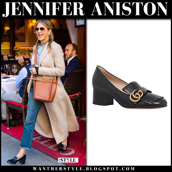 Jennifer Aniston in camel coat and black heel loafers gucci street style april 24