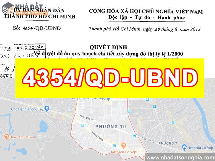 Quyết định số 4354/QĐ-UBND quy hoạch khu dân cư tỉ 1/2000 phường 10 quận Gò Vấp
