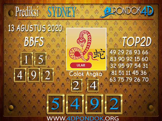 Prediksi Togel SYDNEY PONDOK4D 13 AGUSTUS 2020