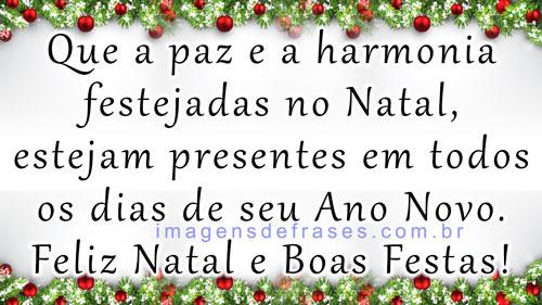 Que a paz e a harmonia festejadas no Natal, estejam presentes em todos os dias de seu Ano Novo