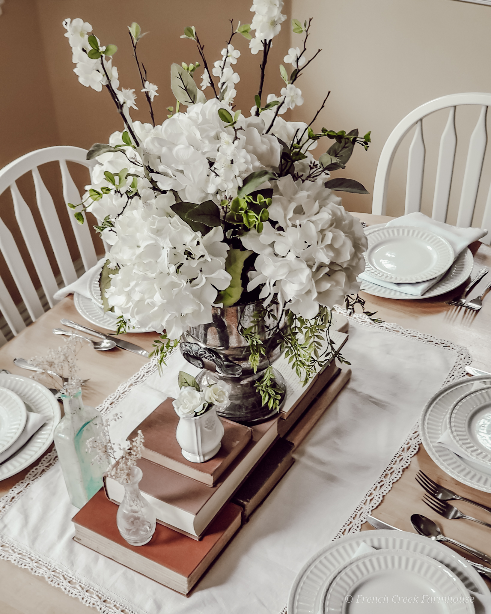 A vintage centerpiece with old books