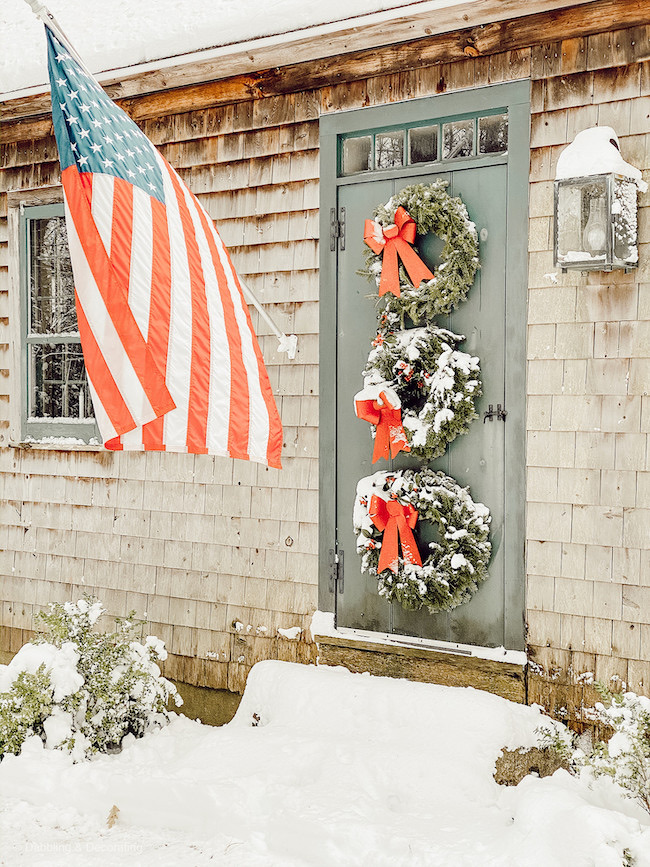 Christmas Wreath Front Door by Dabbling and Decorating featured at Pieced Pastimes