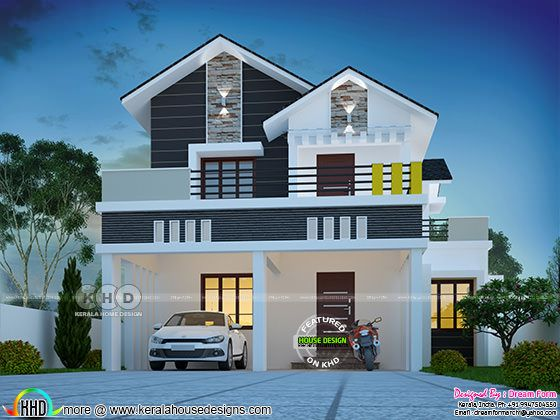 Mixed roof style 4 BHK cute home plan