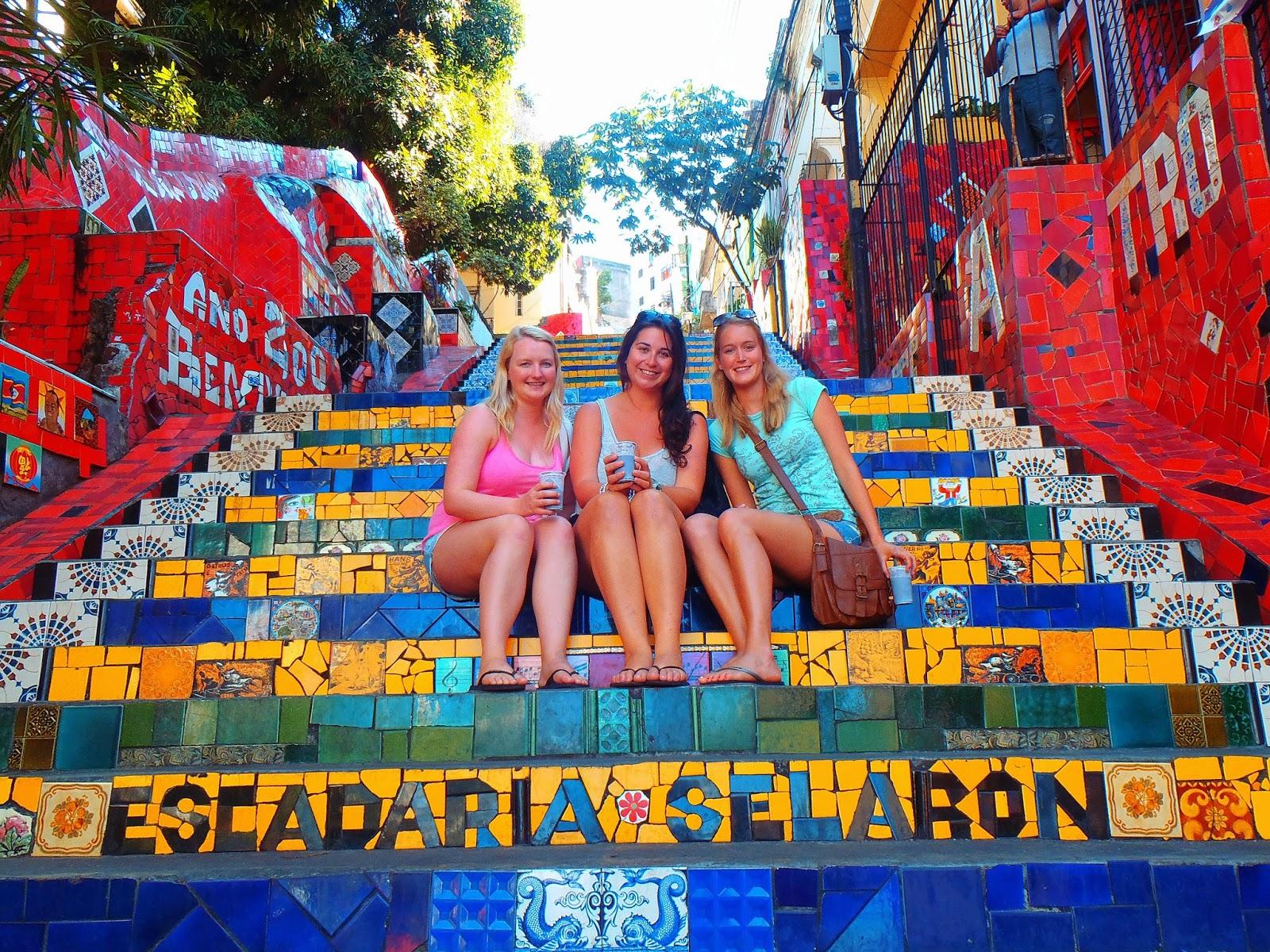 Girls at Escadaria Selaron in Rio de Janeiro