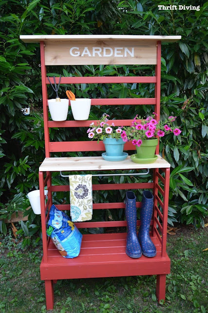 Repurposed toddler bed becomes a potting bench. A must see transformation!