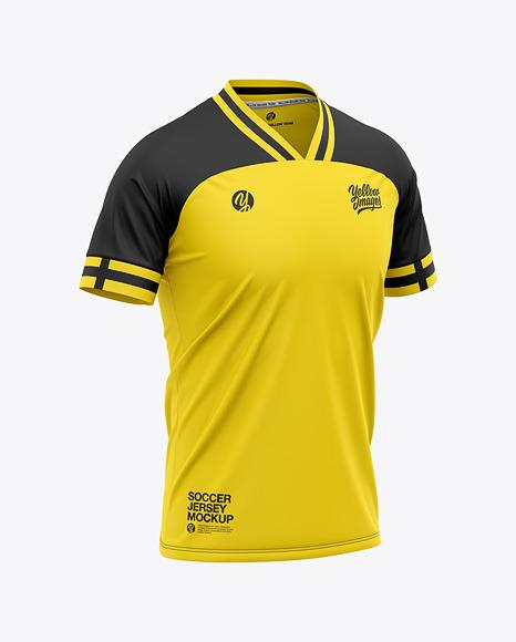 Download Men's Soccer Jersey T-Shirt Mockup - Front Half-Side View ...