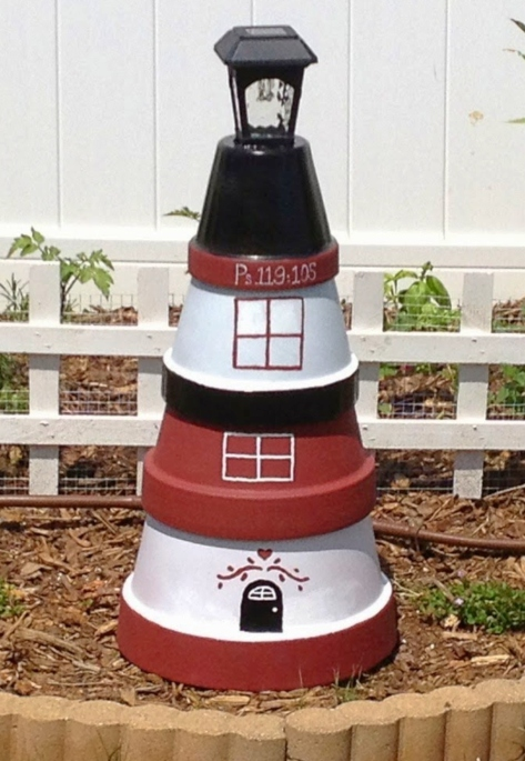 Painted Clay Pot Yard Lighthouse with Solar Light
