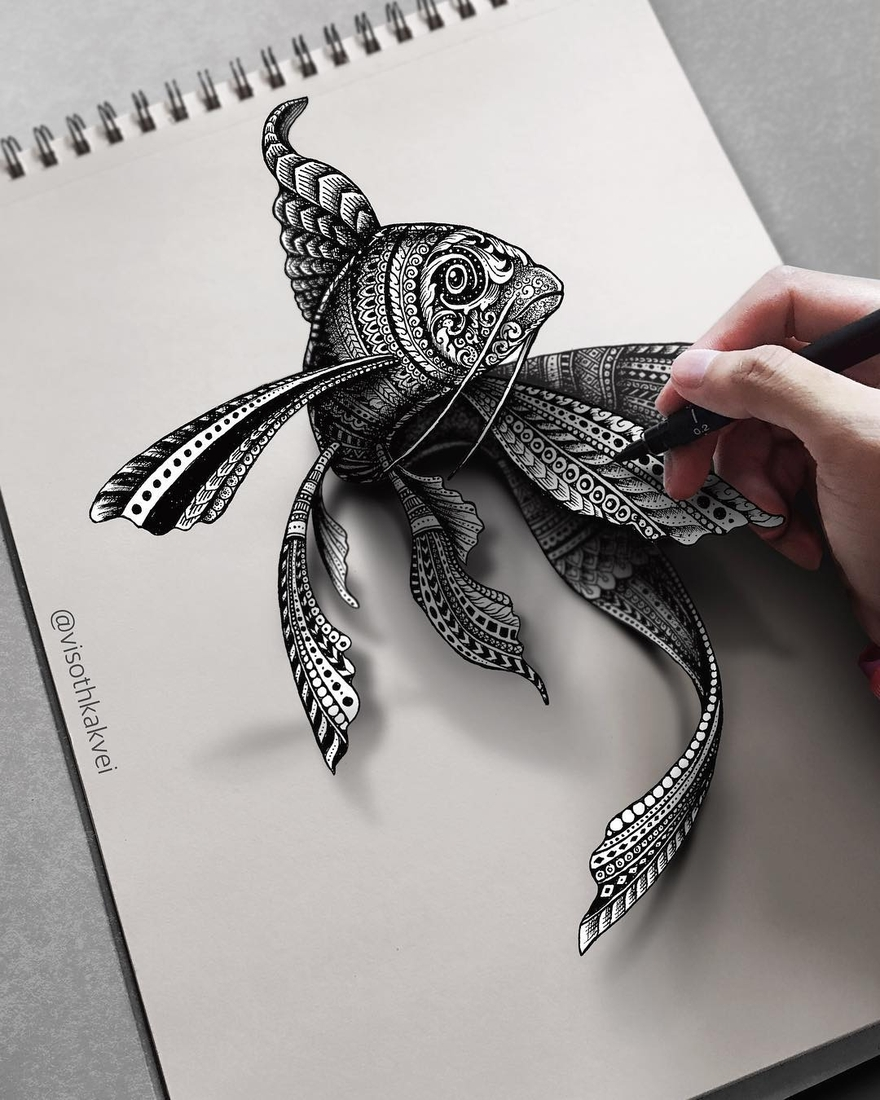 01-3D-Fish-Visoth-Kakvei-Intricate-Doodles-that-include-Optical-Illusions-www-designstack-co